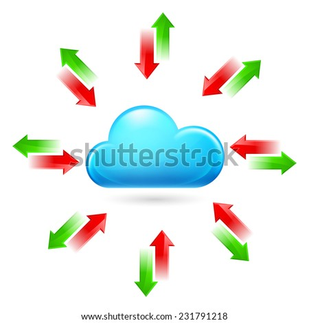 Raster version. Cloud with Arrows. Illustration on white background  - stock photo