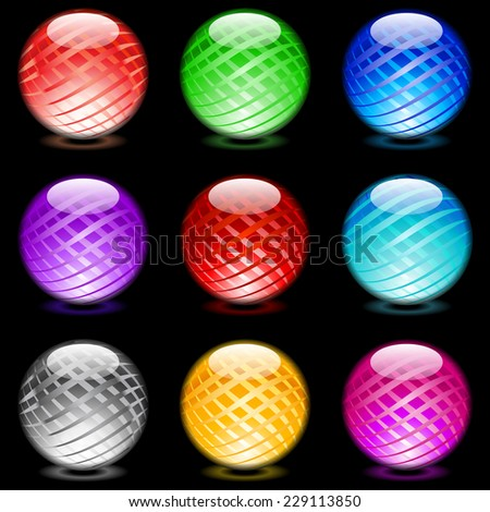 Raster version. Collection of colorful glossy spheres isolated on black. Set #11.  - stock photo