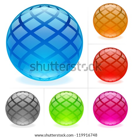 Raster version. Collection of colorful glossy spheres isolated on white.