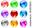 Raster version. Collection of colorful glossy spheres isolated on white. World globe. - stock photo