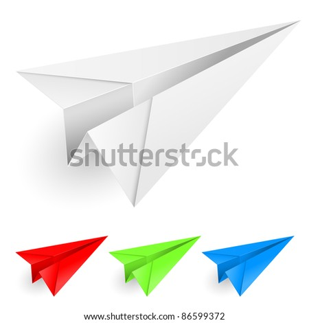 Raster version. Colorful paper airplanes. Illustration on white background for design. - stock photo