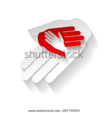 Raster version. Composition of three hands in paper style. Help and teamwork - stock photo