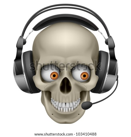 Raster version. Cool Skull with headphones.  Illustration on white background
