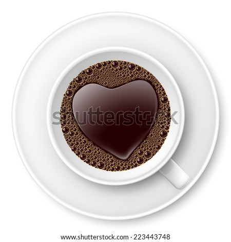 Raster version. Cup of coffee with heart image on top. I love coffee  - stock photo