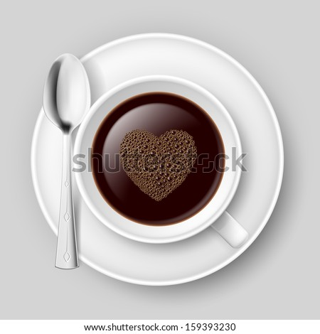 Raster version. Cup of coffee with heart top. Illustration on grey background.