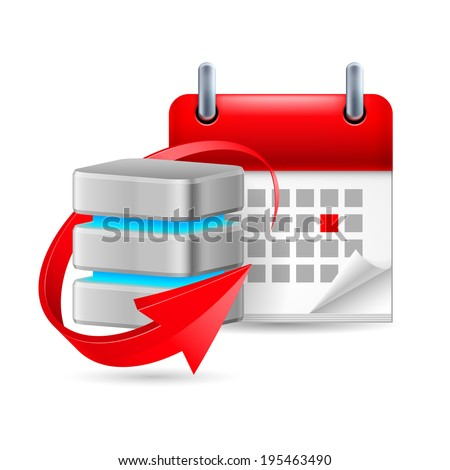 Raster version. Database sign with update symbol and calendar with marked day - stock photo