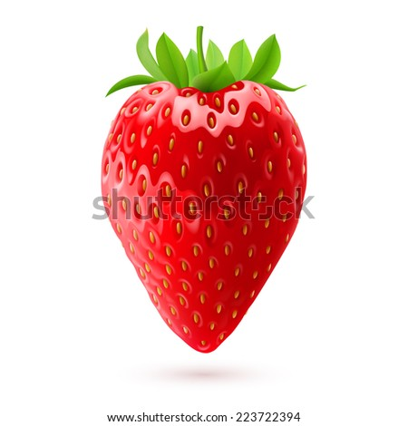 Raster version. Delicious fresh strawberry isolated on white background. Realistic illustration  - stock photo