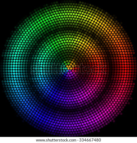 Raster version. Dots digital form circle with dark strip  on the black background