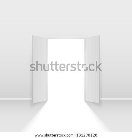 Raster version. Double open door. Illustration on white background - stock photo