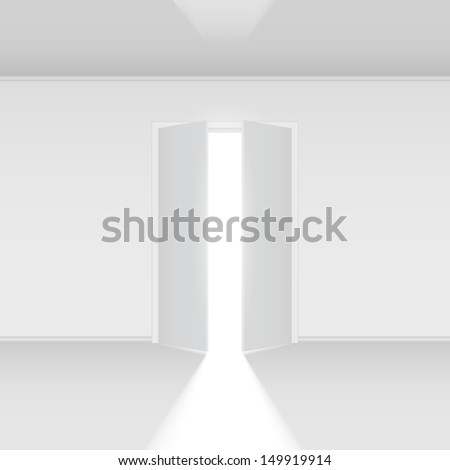 Raster version. Double open door with light. Illustration on white empty background - stock photo