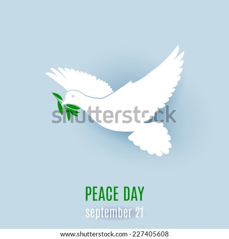 Raster version. Dove of peace flying with a green twig. Illustration on light blue  - stock photo