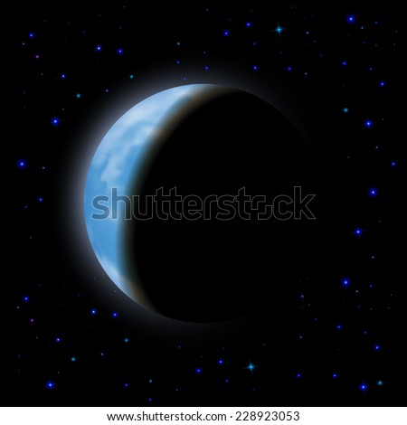 Raster version. Eclipse of the planet on the black background, blue shining stars.
