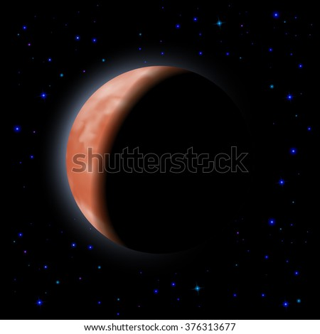 Raster version. Eclipse of the planet on the black background with stars.