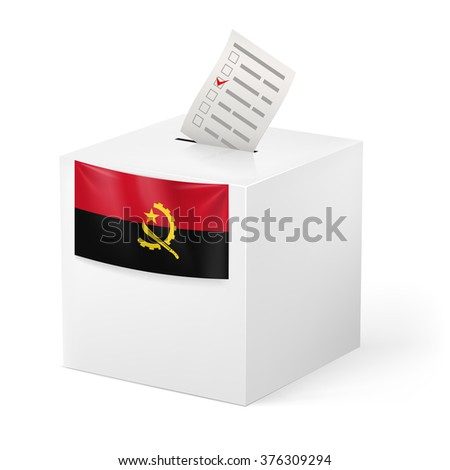 Raster version. Election in Angola: ballot box with voting paper on white background - stock photo