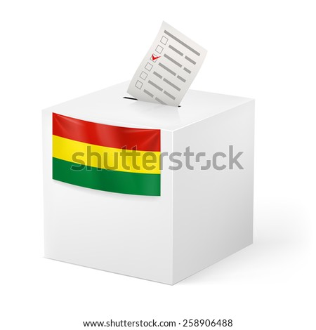 Raster version. Election in Bolivia: ballot box with voting paper on white background  - stock photo