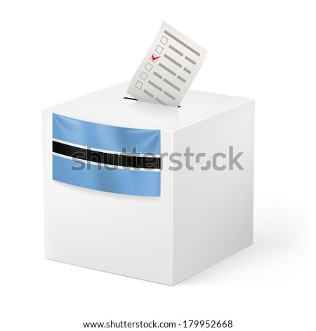 Raster version. Election in Botswana: ballot box with voting paper on white background