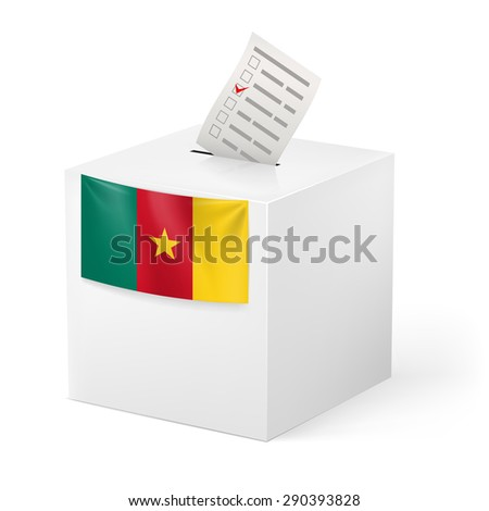 Raster version. Election in Cameroon: ballot box with voting paper on white background