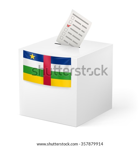 Raster version. Election in Central African Republic: ballot box with voting paper on white background - stock photo