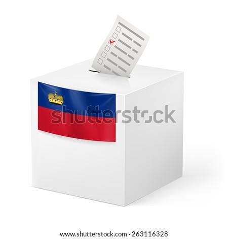 Raster version. Election in Liechtenstein: ballot box with voting paper on white background  - stock photo