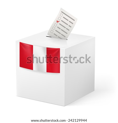 Raster version. Election in Peru: ballot box with voting paper on white background  - stock photo