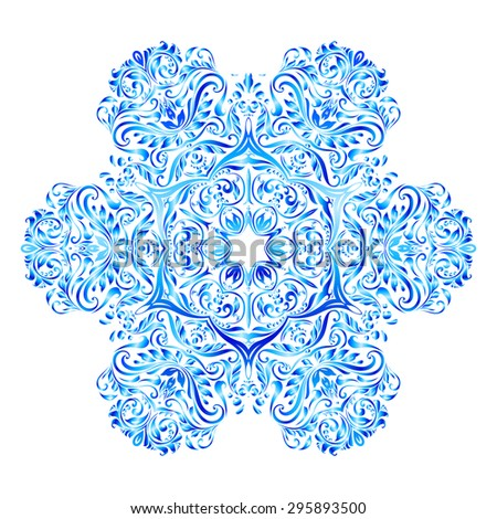 Raster version. Elegant snowflake made of blue floral pattern - stock photo