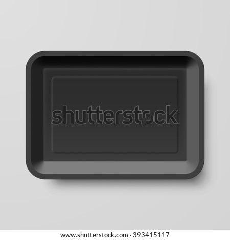 Raster version. Empty Black Plastic Food Container on Gray Background