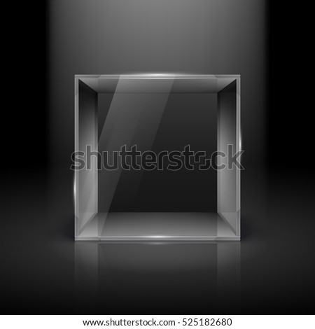 Raster version. Empty Glass Showcase in Cube Form with Spot Light for Presentation on Black