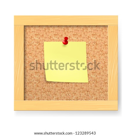 Raster version. Empty notice wooden board. Illustration on white background