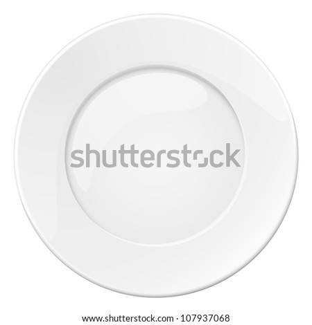 Raster version. Empty white plate. Illustration on white background