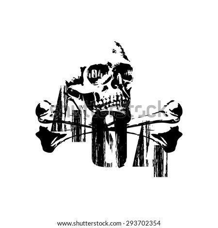 Raster version 404 error with a skull and crossbones in black image on a t-shirt - stock photo