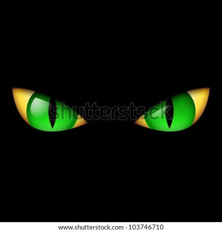 Raster version. Evil Green Eye. Illustration on black background. - stock photo