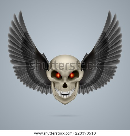 Raster version. Evil looking mutant skull with black wings  - stock photo