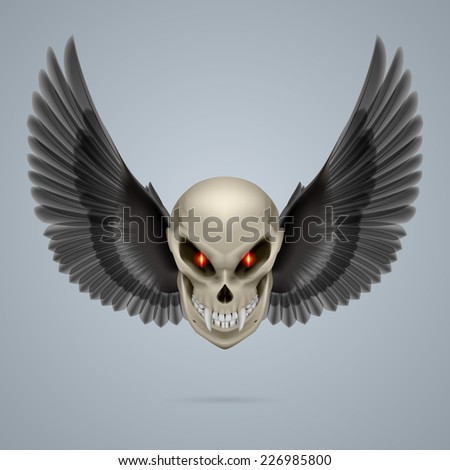 Raster version. Evil looking mutant skull with long fangs and black wings  - stock photo