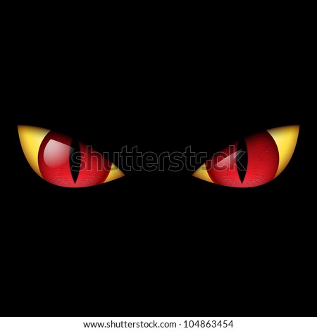 Raster version. Evil Red Eye. Illustration on black background. - stock photo