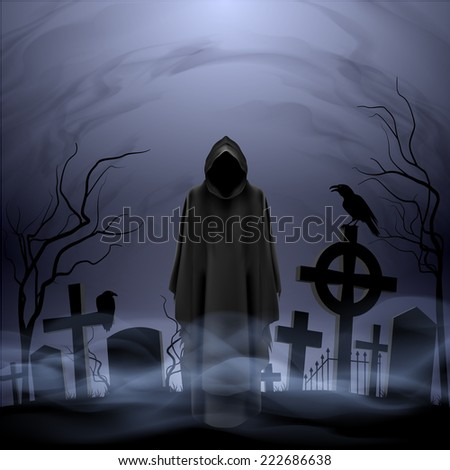Raster version. Faceless angel of death in loose overall among graves in the cemetery.  - stock photo
