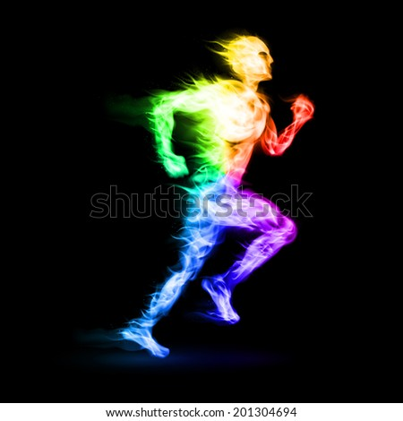Raster version. Fiery running man with motion effect on black background - stock photo