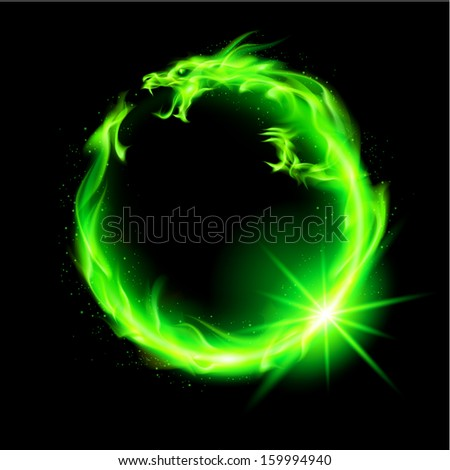 Raster version. Fire Chinese dragon in green  circle on black background. - stock photo
