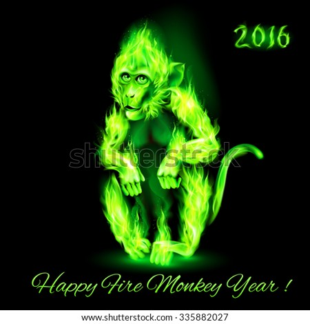 Raster version. Fire Monkey in green color. New Years Banner design on black