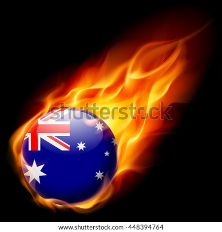 Raster version. Flag of Australia as round glossy icon burning in flame - stock photo