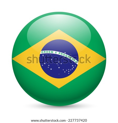 Raster version. Flag of Brazil as round glossy icon. Button with Brazilian flag  - stock photo