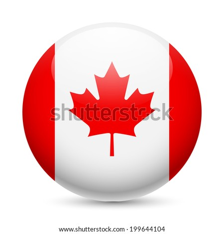Raster version. Flag of Canada as round glossy icon. Button with Canadian flag - stock photo