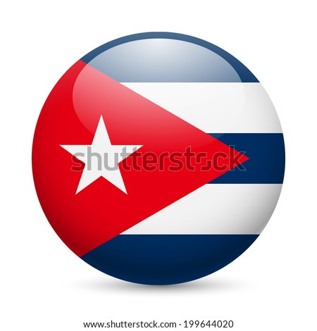 Raster version. Flag of Cuba as round glossy icon. Button with Cuban flag - stock photo