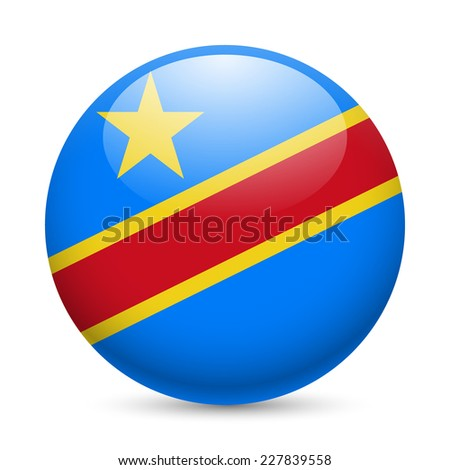 Raster version. Flag of Democratic Republic of the Congo as round glossy icon. Button with flag design  - stock photo
