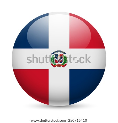 Raster version. Flag of Dominican Republic as round glossy icon. Button with flag design  - stock photo
