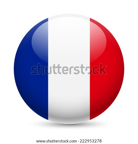 Raster version. Flag of France as round glossy icon. Button with French flag  - stock photo