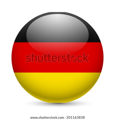 Raster version. Flag of Germany as round glossy icon. Button with German flag - stock photo