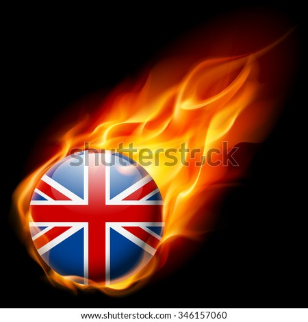 Raster version. Flag of Great Britain as round glossy icon burning in flame - stock photo