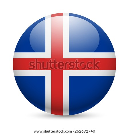 Raster version. Flag of Iceland as round glossy icon. Button with Icelandic flag