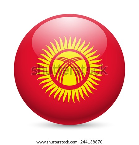Raster version. Flag of Kyrgyzstan as round glossy icon. Button with Kyrgyz flag  - stock photo