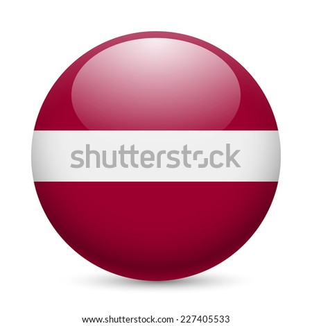Raster version. Flag of Latvia as round glossy icon. Button with Latvian flag